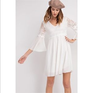 Dresses & Skirts - Off White Lace Babydoll Bell Sleeve Dress